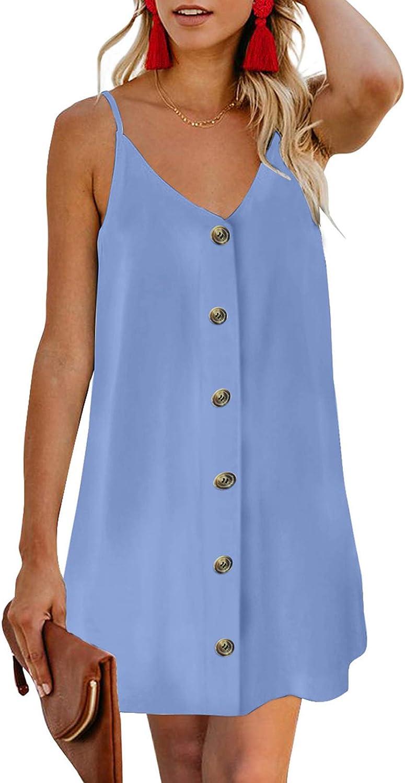 Ecrocoo Women's Casual Summer Dresses Fashion 3/4 Roll Tab Sleeves V Neck T Shirt Dresses Loose Chiffon Button Beach Dress