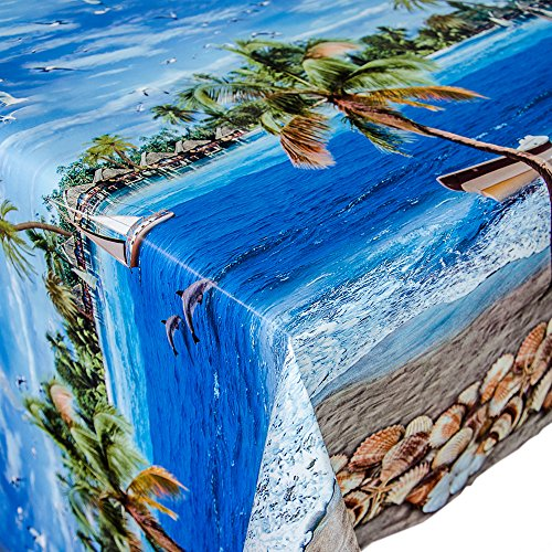ANRO Wachstuch Tischdecke Meterware Motiv Strand nach Maß Länge wählbar