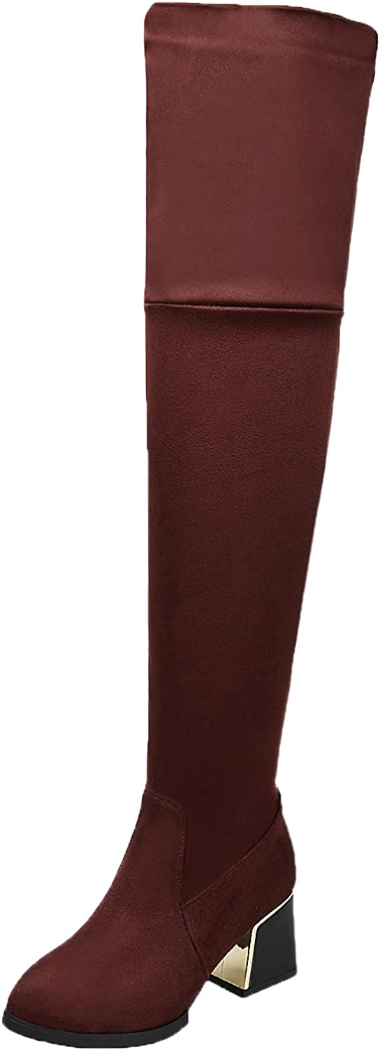 BIGTREE Thigh High Boots Women Casual Fall Winter Block Comfortable Over The Knee Boots