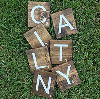 CELYCASY Dark Walnut Nursery Name Blocks | Nursery Block Letters | Nursery Letters | Name Letters | Name Signs | Scrabble Letter Names | Wall Decor