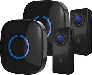 CROSSPOINT Expandable Wireless Doorbell Alert System, Multi-Unit Base Starter Kit includes 2 x Long Range Plug in Receivers and 2 x 100% Waterproof Transmitter Buttons, Model ECBase, Gloss Black