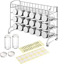 NEX Spice Rack Organizer with 18 Glass Bottles Spice Jars and Labels, Chrome
