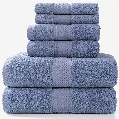 PPCERY Conjunto de Toallas de baño de Lujo, 2 bañeras, 2 arteras, 2 toallitas.Toallas de baño de algodón Suave Altamente Absorbente Toallas de Ducha Adulto (Color : Color9, Size : 6 Towels Set)