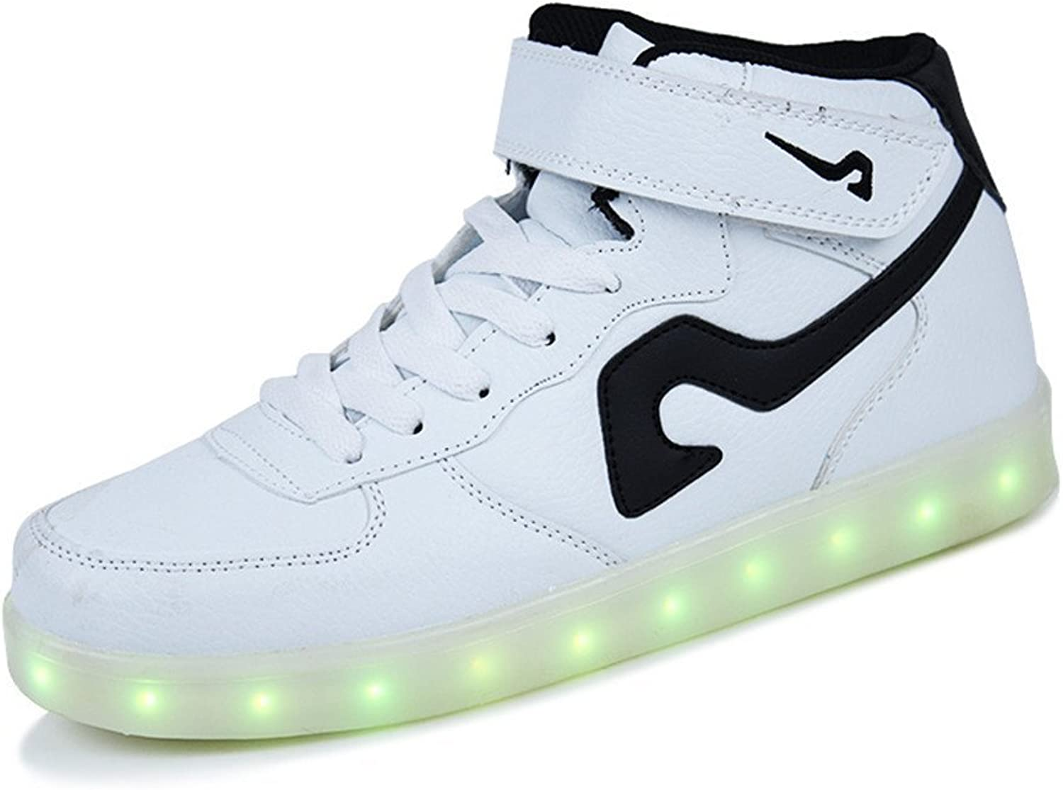 A2kmsmss5a New Men Women High Top USB Charging LED Light Up shoes Flashing Sneakers