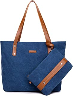 S-ZONE Women Canvas Daily Work Tote Bag Shopping Handbag Shoulder Bag with Purse