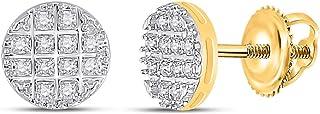 FB جواهر الذهب الأصفر 10kt رجل جولة الماس العنقودية أقراط 1/10 Cttw