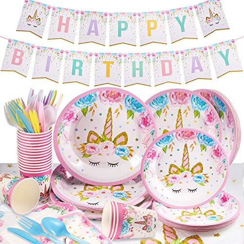 Yosemy Gebutstag Party Set Einhorn Party-Set 114-pcs Einweg Pink Mädchen Einhorn Geburtstag...