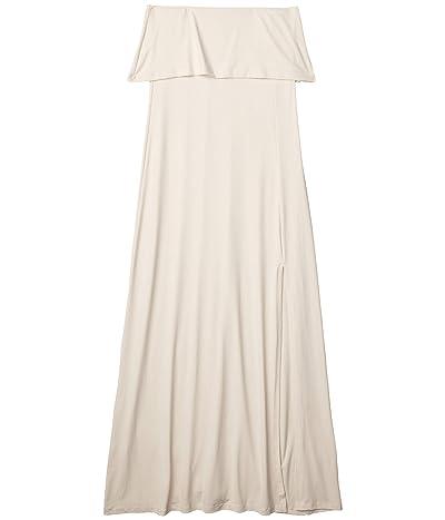 Susana Monaco Lightweight Strapless Overlay Slit Dress (Creme) Women