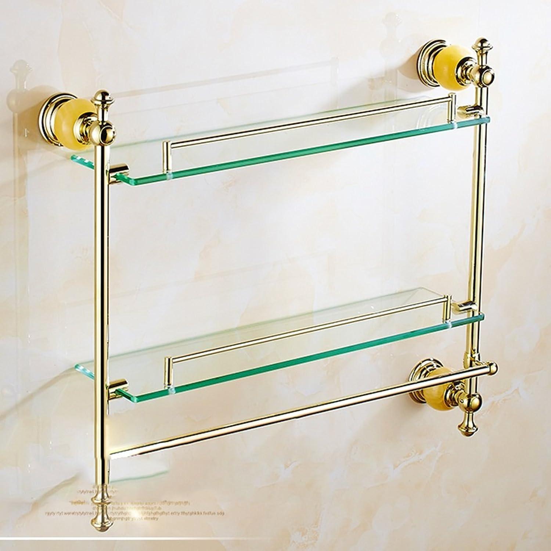 Shelf Antique European Double Dressing Table with Bar Bathroom gold Jade Marble Glass Rack Towel Rack Pendant Shelves Double (color    A)