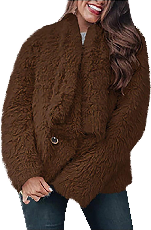 Fur Coats for Women Long Sleeve Trendy Chunky Jacket Tops Winter Warm Casual Cardigan Coats
