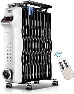 LMCLJJ Calentador de espacios, 2000W calentador de aceite llenado del radiador de control remoto, termostato digital, protección de volcado y sobrecalentamiento, calentador eléctrico portátil for Ofic