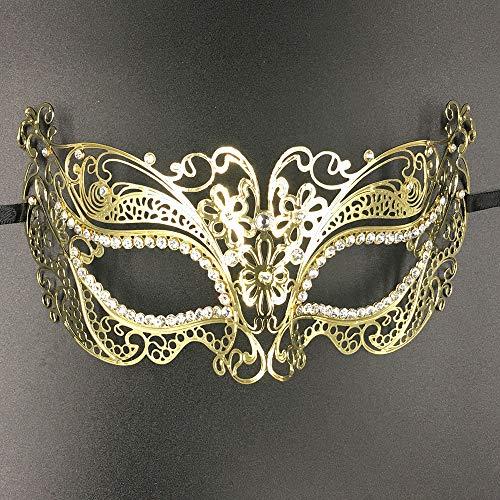 AAWFUL Frauen Blume Glänzend Metall Laser Geschnittene Maskerade Maske Strass Rebe Schwarz Party Geburtstag Hochzeit Karte Karneval Masken