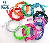 Josi Minea 9 Pcs Fabric Braided Nylon Premium Ruggedized Micro USB Rainbow Cables 3 Feet / 1 Meter Charger Sync Data Rapid Charging Cable USB Cord Wire for Samsung Galaxy S4 / S3 / S2, Samsung Galaxy Note / Note 2, Galaxy Tab, Google Nexus 7 / 10, Nokia Lumia, and Most Android Tablets / Android Phones / Windows Phones (9 Pack)