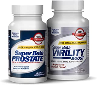 Super Beta Prostate Support &Virility Boost Urinary Health & Prostate Support w/Beta Sitosterol, not Saw Palmetto - Nitric Oxide, Blood Circulation Performance Supplement (120 Caplets, 2-Pack)