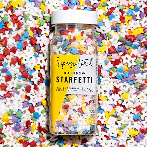 Rainbow Starfetti by Supernatural, Natural Confetti Sprinkles, Gluten-Free, Vegan, No Artificial Dyes, Soy Free for Healthy Baking, 3 oz