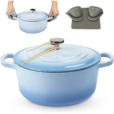 KUTIME Cast Iron Dutch Oven 4.5 Quart Enameled Dutch Oven, Bread Baking Pot with Lid, Blue