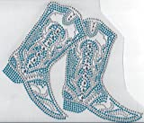 Cowboy Boot Rhinestone Hotfix Heat Transfer Blue and Clear Cowgirl