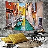 Yaoni Tapestry Pared paño Mantel Toalla de Playa,Venecia, Vibrante Colorido Vista de Venecia Canal Canal góndolas Agua Verde hito románti,Decoraciones para el hogar para la Sala de Estar Dormitorio