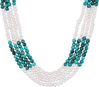 Gem Stone King Green Simulated Turquoise and White Cultured Freshwater Pearls Necklace 18inches+2'' Extender