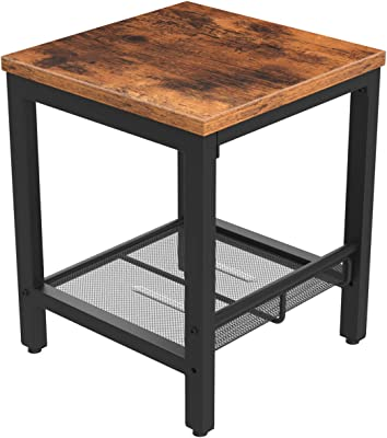 MIERES 2-Tier End Side with Storage Shelf Sturdy Easy Assembly Wood Furniture Industrial Nightstand | Coffee Table, Rustic Brown
