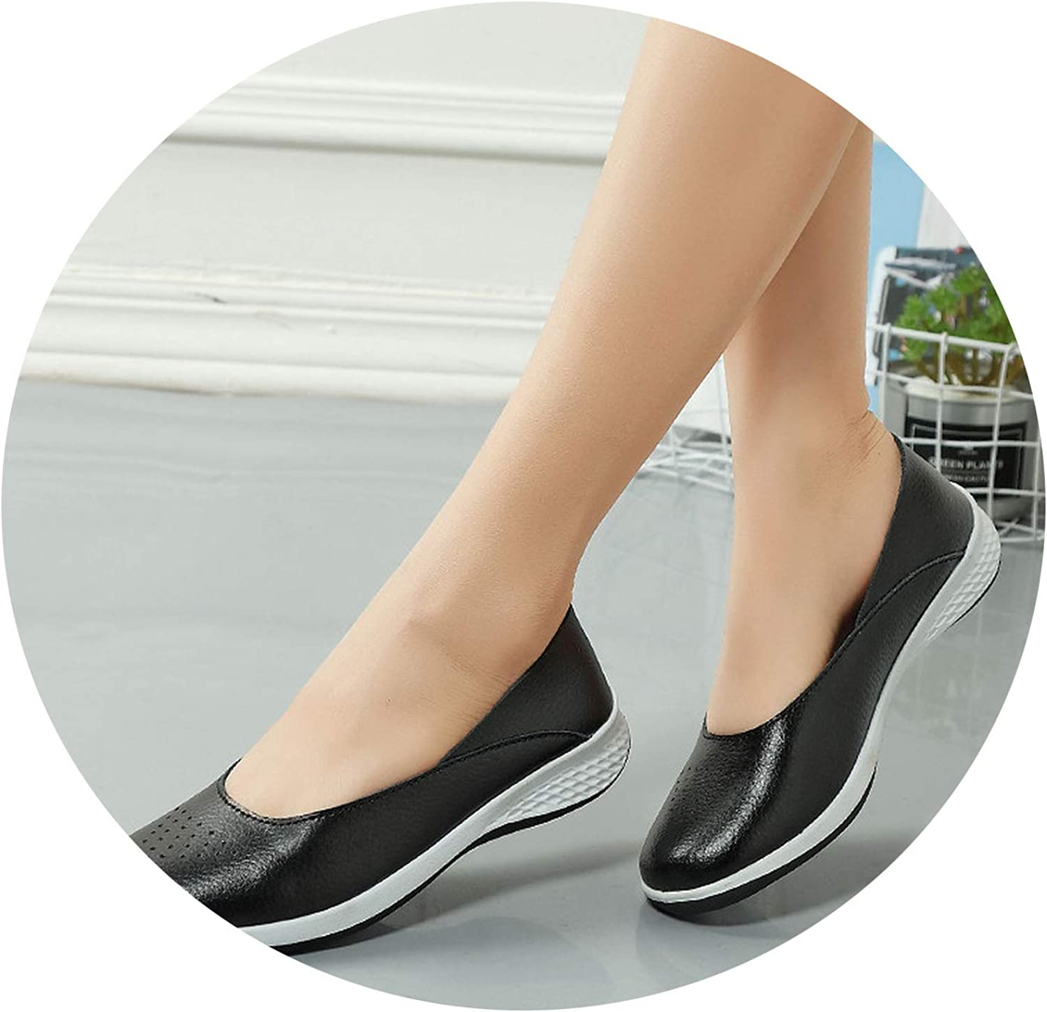 Don't mention the past 2019 Handmade New Summer Hole Loafers Women Flat Leather Moccasin shoes Woman Slip On Ladies shoes,Black,6.5