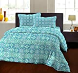Bombay Dyeing 104 TC - Cotton Double Bedsheet with 2 Pillow Covers (Aqua)