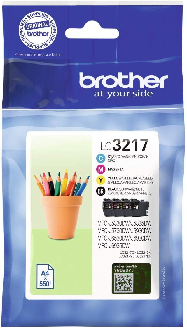 Brother Lc3217c Lc3217m Lc3217y Lc3217bk Standard Yield Cyan Magenta Yellow Black Multipack Single One Size Black Cyan Magenta Yellow Bürobedarf Schreibwaren
