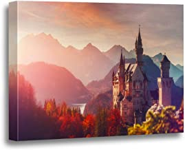 rouihot Canvas Wall Art Painting Tipical Postcard Majestic Neuschwanstein Castle During Sunset with Colorful Clouds 16x20 Inches Home Decorative Artwork Prints