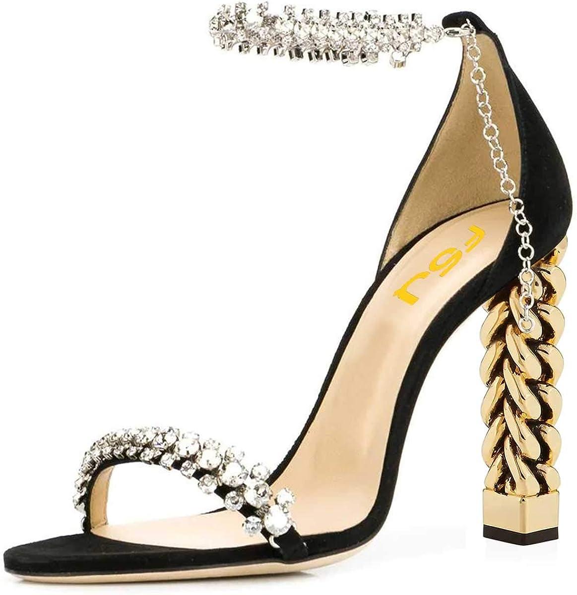 FSJ Women Flower Gold Metal Chain Chunky High Heels Ankle Strap Sandals Open Toe Fashion Shoes Size 4-15 US
