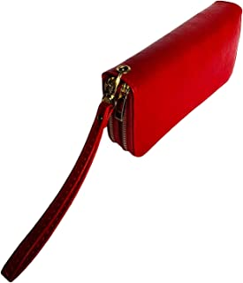 Vegan Leather Women Double Zipper Wristlet Wallet