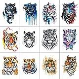 WYUEN 12 PCS/lot Wolf Temporary Tattoo Sticker for Women Men Fashion Body Art Adults Waterproof Hand Fake Tatoo 9.8X6cm FW12-01 (Tiger1)