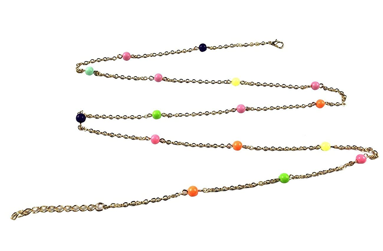 Qtalkie Colorful Boho Beads Chain Beach Bikini Belly Body Waist Chain Jewelry Necklace for Women Girls