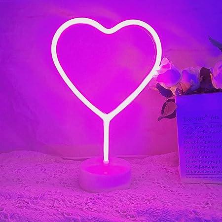 QiaoFei LED Herzschild Nachtlicht, Neon herzförmige Dekor Licht mit Halter Basis, ischlicht Festzelt Zeichen für Weihnachten, Geburtstagsfeier, Kinderzimmer, Wohnzimmer, Hochzeitsfeier Dekor (rosa)