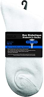 Men's Diabetic Crew Socks, 3-pack - White