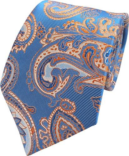 Great British Tie Club Hommes Paisley Motif Cachemire Cravates - Diverses couleurs (Bleu & Orange)