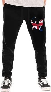 Mens Casual Sweatpants British Flag Bearded Dragon Silhouette Jogger Pant Elastic Waist Pants