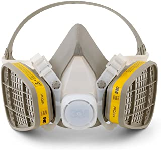 3M 5203 Medium Yellow Thermoplastic Elastomer Half Mask 5000 Series Disposable Air Purifying Respirator with 4 Point Harness, Plastic, 1