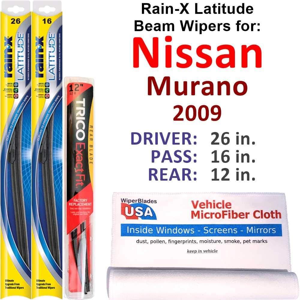 Rain-X shipfree Latitude Beam Wipers for 2009 Murano Nissan Ra Rear Phoenix Mall w Set