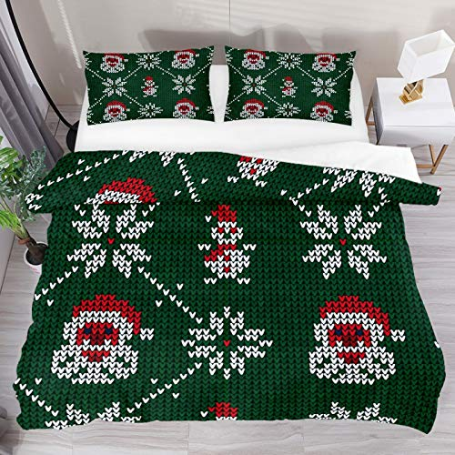 SENNSEE Christmas Santa Claus Snowman 3 Piece Duvet Cover Set King Size 104'x90' Soft Quilt Cover Decorative Bedding Sets 1 Duvet Cover 2 Pillowcases Polyester Bedspread