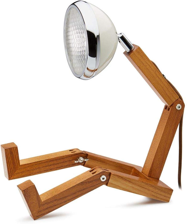 Mr. Wattson, die flexible Eschenholz Tischlampe in wei - Aluminium mit LED Leuchtmittel