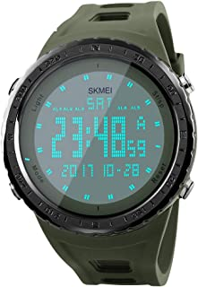 Men's Digital Sports Watch Large Numbers Waterproof Stopwatch Countdown LED Military Wristwatches for Men