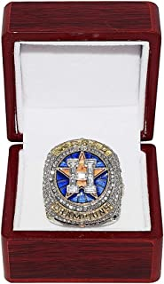 HOUSTON ASTROS (Jose Altuve) 2017 WORLD SERIES CHAMPIONS (First Series Title) HOUSTON STRONG Collectible High-Quality Replica Silver & Gold Baseball Championship Ring with Cherrywood Display Box