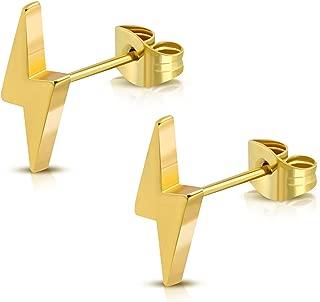 Stainless Steel Lightning Bolt Flash Thunder Button Stud Post Earrings