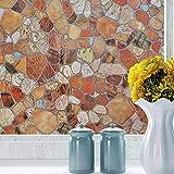 Essort Película electrostática decorativa anti-mirada para ventana, privacidad, estática, opaca para hogar, cocina, oficina, patrón de adoquines (45 cm x 200 cm)