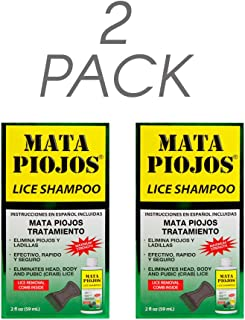 Mata Piojos Lice Shampoo + Free Lice Removal Comb 2 FO, Low Foaming Shampoo Maximum