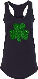 Irish Shamrock St. Patrick's Day Glitter Green Lucky Charm Women Racerback Tank