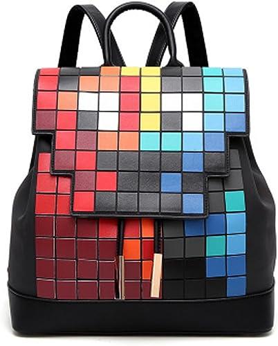 WTING Sac à dos pour femme PU géométrique Luminous Zipper Mosaic Cube sac