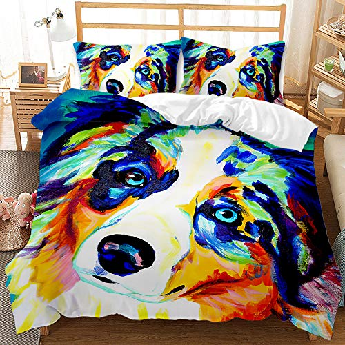 Keketu 3 sets of tiger cute animal prints, zippers, soft microfiber duvet cover, suitable for children and adults, gift ideas,A,200 x 200cm