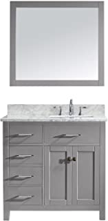 Virtu USA MS-2136L-WMSQ-CG-001 Caroline Parkway Single Bathroom Vanity with Marble Top/Square Sink with Brushed Nickel Faucet/Mirror, 36 inches, Cashmere Gray