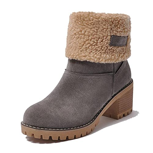 1f41898464a Vimisaoi Women s Suede Warm Outdoor Slip On Comfortable Square Heel Ankle  Snow Booties